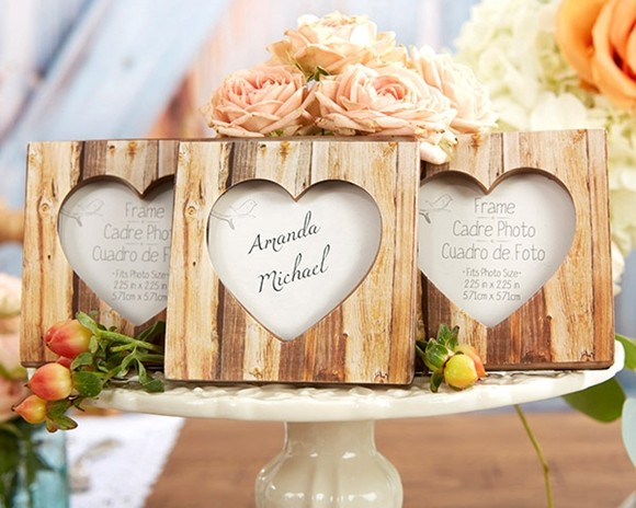 """Rustic Romance"" Faux-Wood Heart Place Card Holder/Frame"