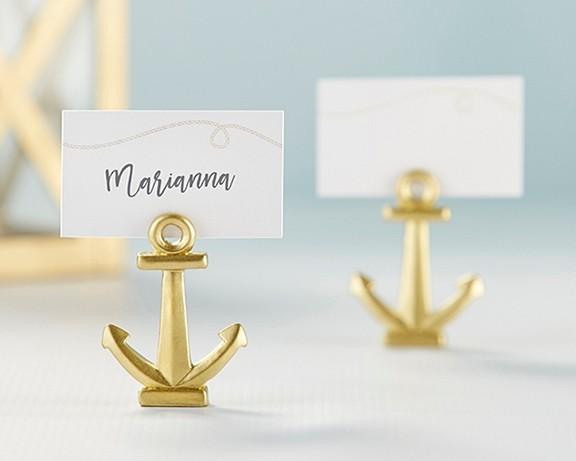 Kate Aspen Gold Nautical Anchor Place Card Holders (Set of 6)