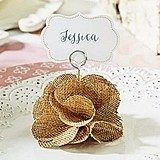 Kate Aspen Rustic Burlap Rose Place Card Holders (Set of 6)