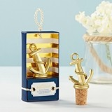 Kate Aspen Gold Nautical-Theme Anchor-Shaped Bottle Stopper