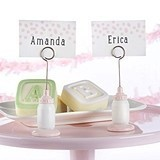 Kate Aspen Classic Pink Baby-Bottle-Shaped Place Card Holder
