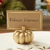 Kate Aspen Golden Pumpkin Place Card Holders (Set of 6)