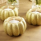 Kate Aspen Gold Glitter Pumpkin-Shaped Votive Holders (Set of 2)