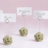 Kate Aspen Light Gold-Colored Rose-Shaped Place Card Holder (Set of 6)