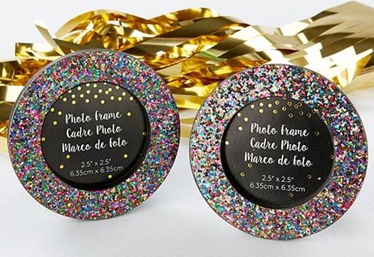 Kate Aspen Multicolored Glitter Round Frame/Place Card Holder