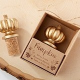 Kate Aspen Cork Bottle Stopper with Gold-Colored Pumpkin Detail Atop