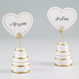 Gold Wedding Cake Place Card Holders with Heart Placecards (Set of 6)