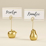Kate Aspen Gold-Colored Apple and Pear Place Card Holders (Set of 6)