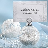 Snowball! Flocked Glass Ornament Placecards/Photo Holders (Set of 6)