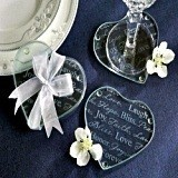 Kate Aspen Encouraging Words Heart-Shaped Glass Coasters (Set of 2)
