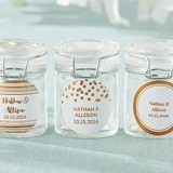 Personalized Glass Favor Jars with Copper Foil Designs (Set of 12)