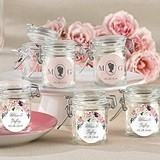 Personalized Glass Favor Jars with English Garden Designs (Set of 12)
