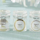 Personalized Glass Favor Jars with Gold Foil Designs (Set of 12)