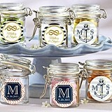 Kate Aspen Nautical Theme Personalized Glass Favor Jars (Set of 12)