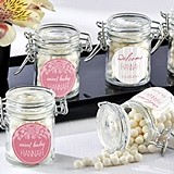 Rustic Baby Shower Personalized Glass Favor Jars (Set of 12)