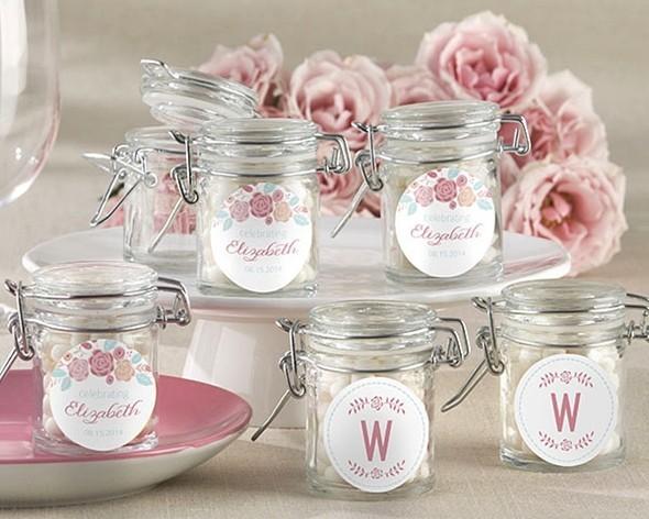 rustic bridal shower personalized glass favor jars set of 12