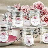 Rustic Bridal Shower Personalized Glass Favor Jars (Set of 12)