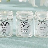 Personalized Glass Favor Jars with Silver Foil Designs (Set of 12)