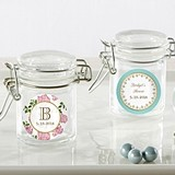 Personalized Glass Favor Jars with Tea Time Designs (Set of 12)