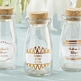 Vintage Milk Bottles with Personalized Copper Foil Labels (Set of 12)