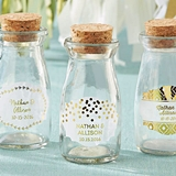 Vintage Milk Bottles with Personalized Gold Foil Labels (Set of 12)