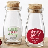 Personalized Vintage Milk Bottle Jars (Holiday Designs) (Set of 12)