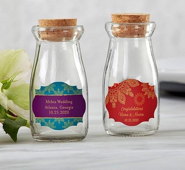 Personalized Indian Jewel Designs Vintage Milk Bottle Jars (Set of 12)
