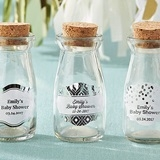 Vintage Milk Bottles with Personalized Silver Foil Labels (Set of 12)