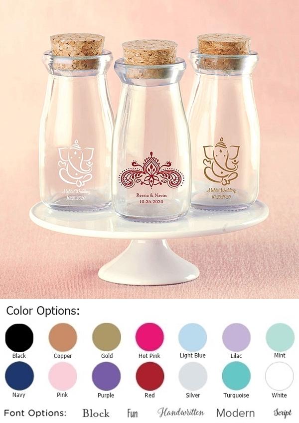 Vintage Milk Bottles with Printed Indian Jewel Designs (Set of 12)