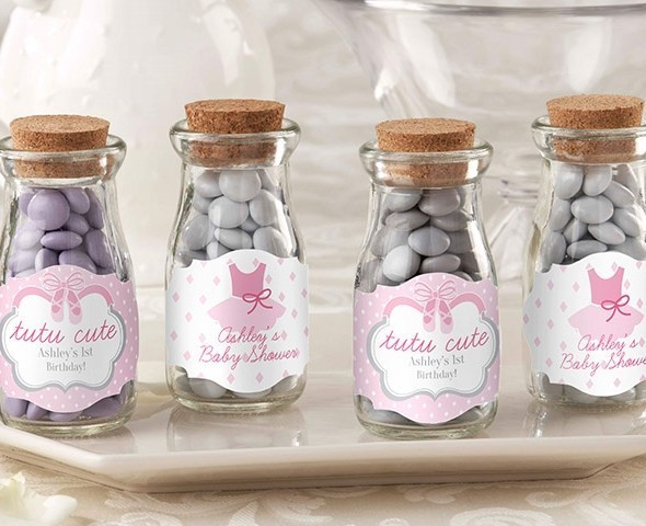 """Tutu Cute"" Personalized Vintage Milk Bottle Jar (Set of 12)"