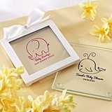 Charming Personalized Baby Shower Glass Coasters (Set of 12)
