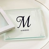 Kate Aspen Beautiful Monogrammed Glass Coasters (Set of 12)