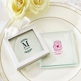 Personalized Glass Coasters with Botanical Designs (Set of 12)