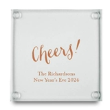 Cheers! Script Design Personalized Glass Coasters (Set of 12)