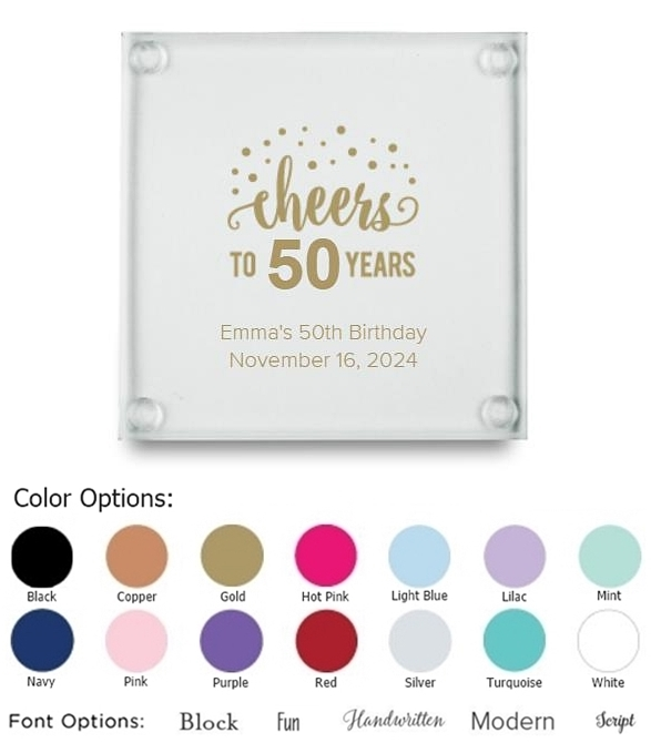 Cheers to X Years Dots Design Personalized Glass Coasters (Set of 12)