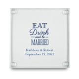 Eat, Drink & Be Married Motif Personalized Glass Coasters (Set of 12)