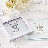 """Personalized """"The Hunt is Over"""" Glass Coasters (Set of 12)"""