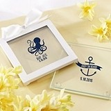 Nautical Baby Shower Personalized Glass Coasters (Set of 12)
