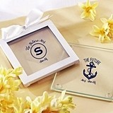 Nautical Bridal Shower Personalized Glass Coasters (Set of 12)