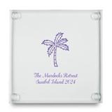 Kate Aspen Palm Tree Design Personalized Glass Coasters (Set of 12)