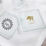 Personalized Glass Coasters with Indian Jewel Designs (Set of 12)