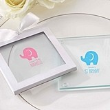 Little Peanut Elephant Design Personalized Glass Coasters (Set of 12)