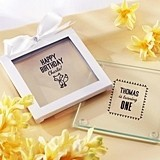 Kate Aspen Woodland Birthday Personalized Glass Coasters (Set of 12)