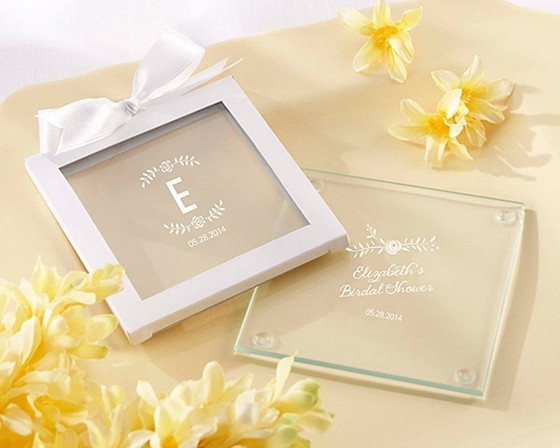 rustic bridal shower personalized glass coasters set of 12