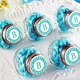 Personalized Mini Glass Favor Jars (Monogram Designs) (Set of 12)