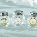 Personalized Screw-Top Glass Jars with Gold Foil Designs (Set of 12)