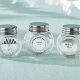 Personalized Screw-Top Glass Jars with Silver Foil Designs (Set of 12)