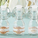 Personalized Mini Swing-Top Bottles w/ Copper Foil Designs (Set of 12)