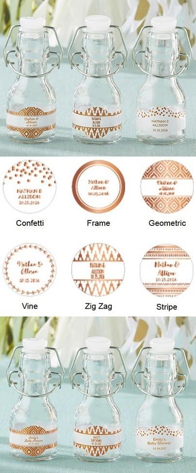 Personalized Mini Swing-Top Bottles w/ Copper Foil Designs (Set of 12)