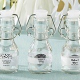 Personalized Mini Swing-Top Bottles w/ Silver Foil Designs (Set of 12)